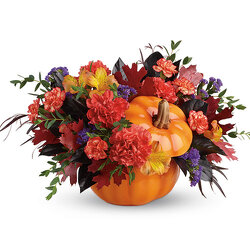 Teleflora's Hauntingly Pretty Pumpkin Bouquet from Arjuna Florist in Brockport, NY