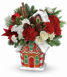 Teleflora's Gingerbread Cookie Jar Bouquet from Arjuna Florist in Brockport, NY