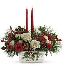 Teleflora's Halls Of Holly Centerpiece from Arjuna Florist in Brockport, NY