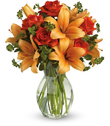 Fiery Lily and Rose from Arjuna Florist in Brockport, NY
