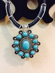 Turquoise Necklace with Black Leather from Arjuna Florist in Brockport, NY